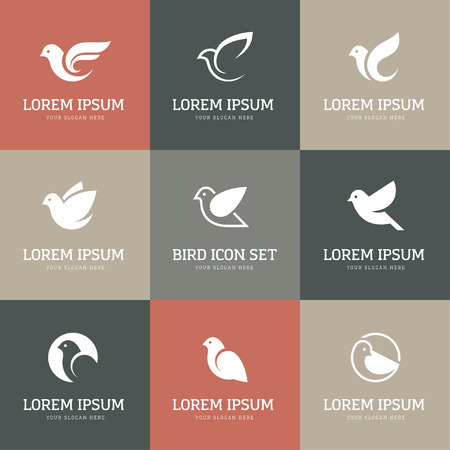 peace concept: Bird icons set. Dove and pigeon abstract symbol. Can be used for freedom or peace, spa, beauty, health or family care center  concept