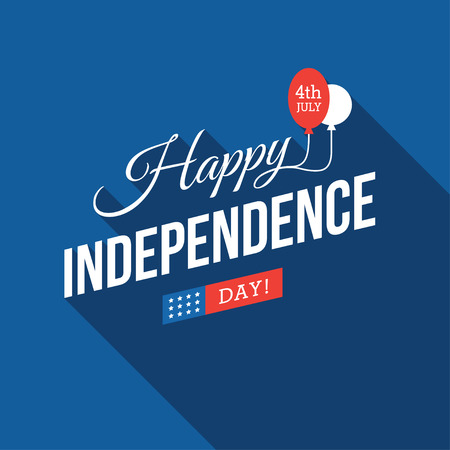 4th of July USA Independence Day blue design with long shadow for greeting card, banner or poster Illustration
