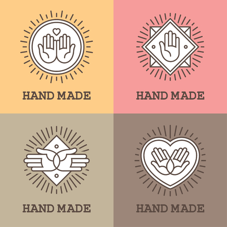 Set of four linear labels and emblems with hands for handmade, massage or charity design concept
