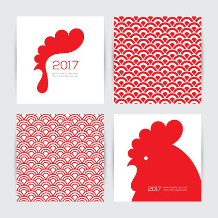 greeting cards: Greeting cards design set for New Year 2017 with red rooster and two seamless chinese textures in red and white colors