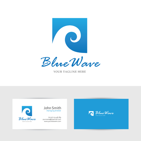 water sport: Square blue wave icon and business card design template. Can be used for water sports or cosmetics logo concept. Illustration