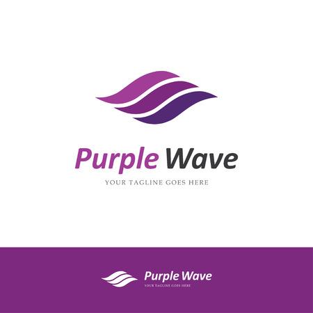 forme: Abstract logo violet avec trois lignes courbes ressemblant à des ondes