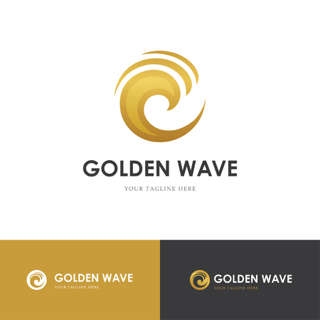 Round golden swirl looking like a wave. Can be used for jewelry or cosmetics logo concept Logo