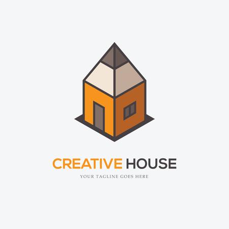 Creative-logo met potlood op zoek als een huis. Kan worden gebruikt voor het interieur of exterieur design bedrijf, tekening school, architectonische of educatieve concepten, etc.