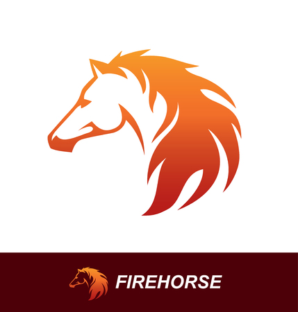 fire symbol: Horse head with a mane looking like a fire flame. Speed, freedom and strength symbol. Can be used for sports logo or emblem design or as a tattoo Illustration