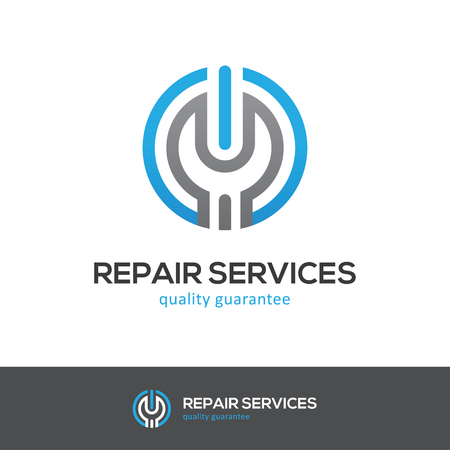 power wrench: Round icon with wrench and power button. Can be used for computer, cellphone or home appliances repair services logo concept