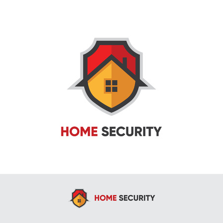 house logo: Home security logo with shield and house Illustration