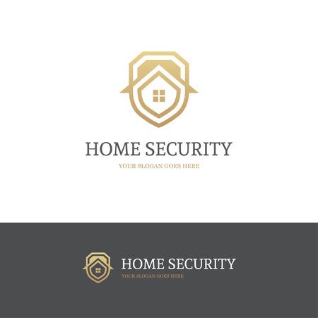 caja fuerte: logotipo de seguridad para el hogar con el escudo y la casa en colores de oro