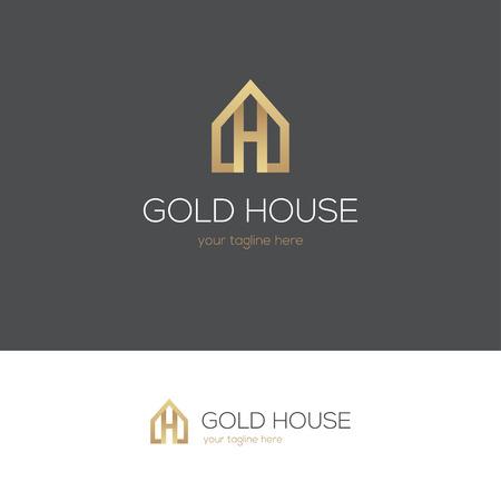 Gouden huis logo met de letter h. Kan gebruikt worden voor onroerend goed, sieraden of hotel ontwerpconcept