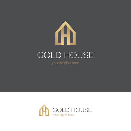 Golden house logo with letter h. Can be used for real estate, jewelry or hotel design concept