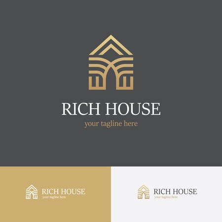 Gouden huis lijn icoon. Kan gebruikt worden voor realty goed logo template Stock Illustratie