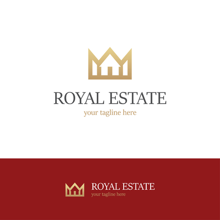 Golden logo with house and crown on white and red backgrounds. Royal estate icon Illustration