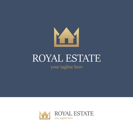 Golden logo with house and crown on blue and white backgrounds. Royal estate icon 版權商用圖片 - 68720723