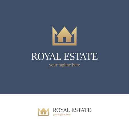 Gouden logo met huis en de kroon op blauwe en witte achtergrond. Royal landgoed pictogram