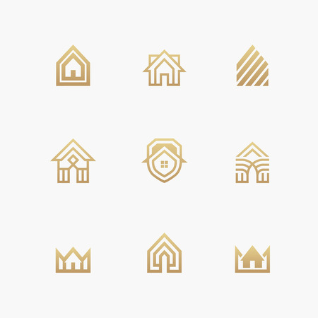 luxury condo: Houses icons and logo templates set in golden colors isolated on white background Illustration