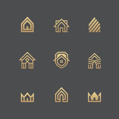Huizen iconen en logo templates in gouden kleuren geïsoleerd op een zwarte achtergrond