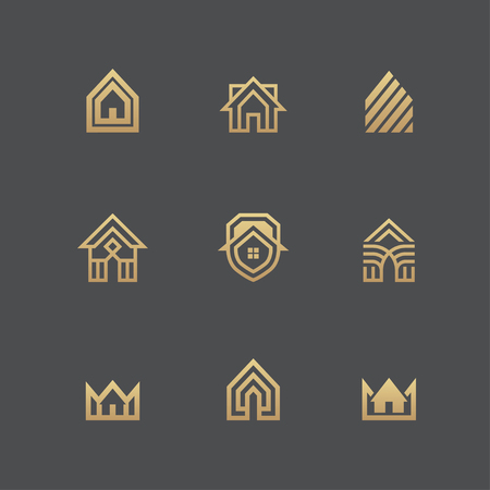 Houses icons and logo templates set in golden colors isolated on black background