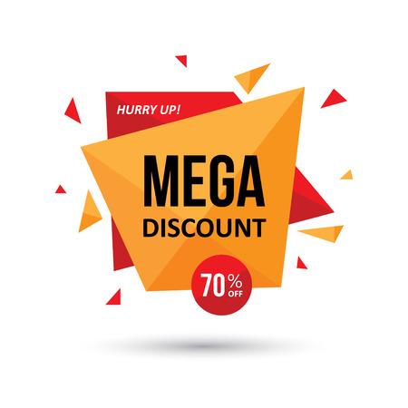 label tag: Big sale tag, label, web banner or poster modern geometric design. Mega discount business concept.