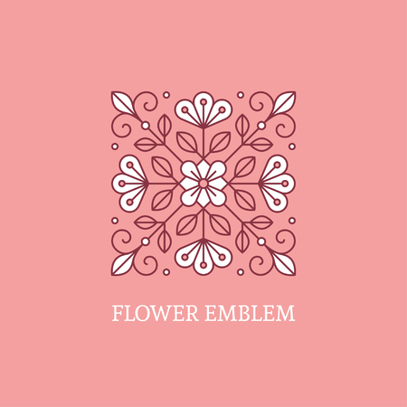 soft colors: Abstract geometric floral emblem. Square logo template in soft colors Illustration