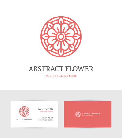 Modern abstract linear red flower logo and business card design template for beauty salon, spa or cosmetics design concept