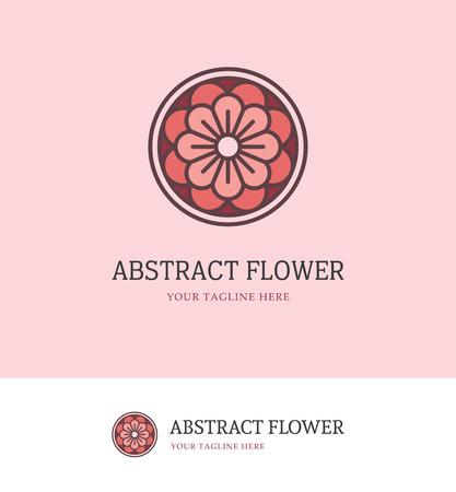 pastel colors: logotipo de la flor redondo abstracto en colores pastel rojos Vectores