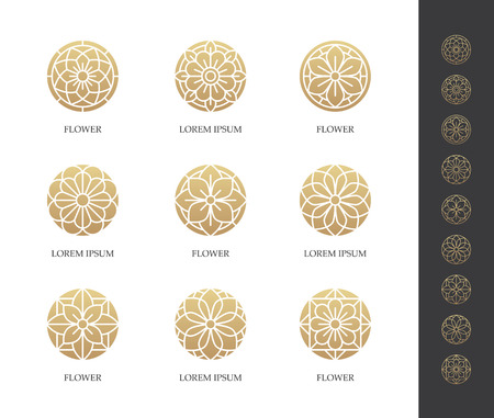 Golden round flower logo set. Linear floral icon. Luxury design concept.