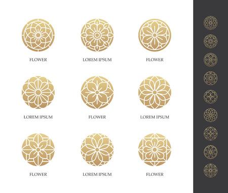 Golden round flower logo set. Linear floral icon. Luxury design concept.