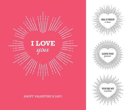 confession: Creative design concept with heart shaped frame and sunburst for Valentines day, Mothers day, Womens day greeting cards or love confession