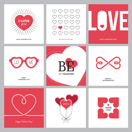 confession: Creative design concepts set with hearts for Valentines day, Mothers day, Womens day greeting cards or love confession