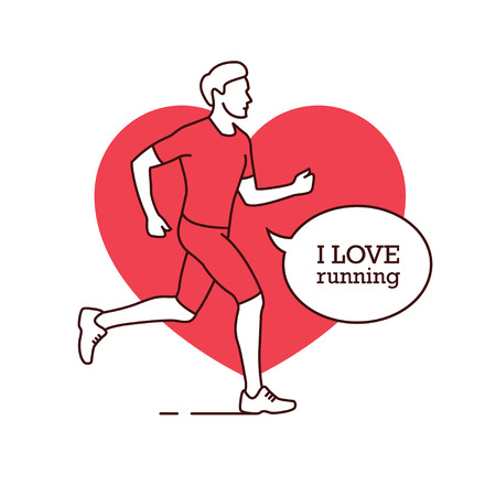 Running man linear silhouette with a heart shape on the background