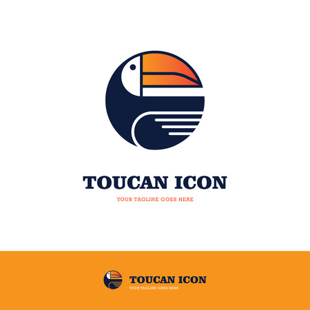 hornbill: Toucan logo in a shape of a circle isolated on white and orange backgrounds Illustration