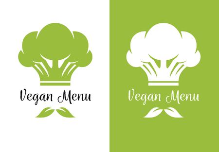 L'icône du brocoli ressemble au chapeau de cuisinier et aux feuilles vertes comme la moustache. Menu végétarien végétarien et menu créatif logo.