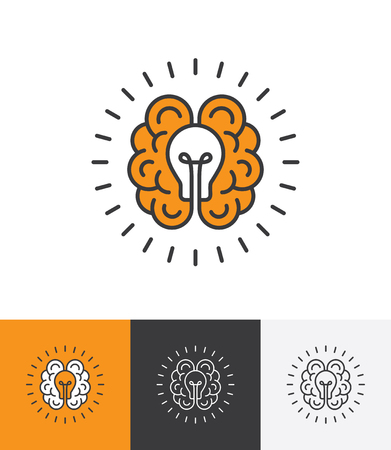 Mono line icon with brain and light bulb. Creative idea, mind, thinking logo concept Vectores