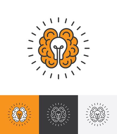 Mono lijn icoon met hersenen en lamp. Creatief idee, geest, denken embleemconcept