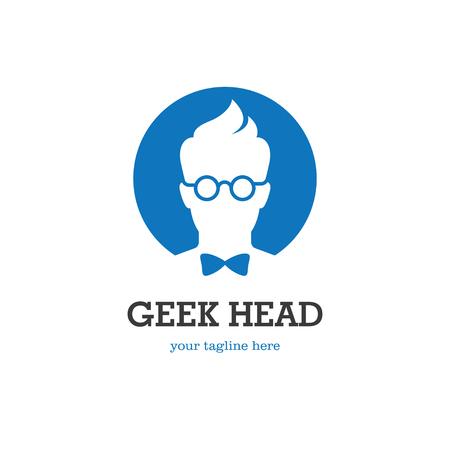 icono ordenador: El logotipo redondo con la silueta de la cabeza friki en vidrios y pajarita