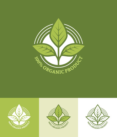 fresh food: Organic or vegetarian product round emblem with leaves in green colors Illustration