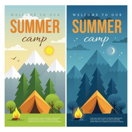campamento: Día y noche paisaje ilustraciones con montañas, árboles, tienda de campaña y fogata en estilo plano. web banner vertical para el campamento de verano, el turismo de naturaleza, camping, excursiones, senderismo, etc.