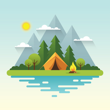 Sunny day landscape illustration in flat style with tent, campfire, mountains, forest and water. Background for summer camp, nature tourism, camping or hiking design concept. Illustration