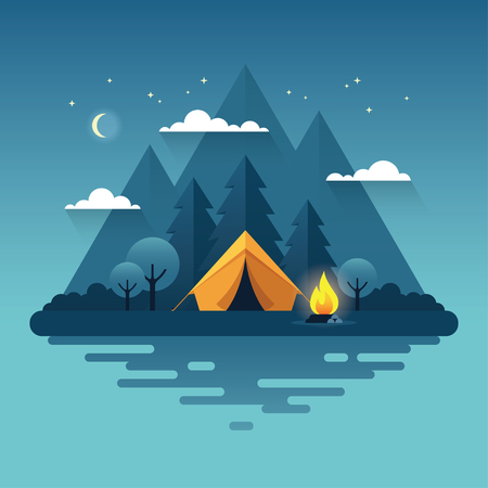Night landscape illustration in flat style with tent, campfire, mountains, forest and water. Background for summer camp, nature tourism, camping or hiking design concept.