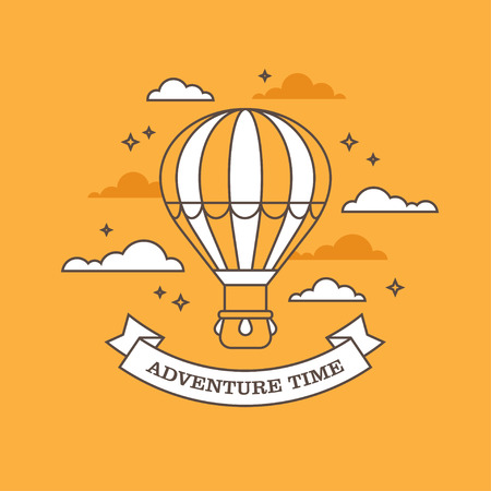 Flat linear illustration with air balloon flying in the sky on orange background. Vectores