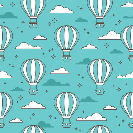 Seamless pattern with air balloons flying in the sky on turquoise background.
