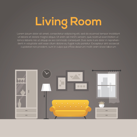 interior design home: Cozy living room illustration in flat style. Home decor or interior design concept with yellow sofa. Illustration