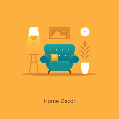 interior design home: Cozy living room illustration with armchair in flat style. Home decor. Colorful interior design concept.