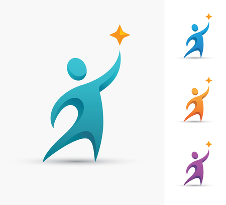 Human logo with star. Champion or winner icon. Success and successful people design concept.