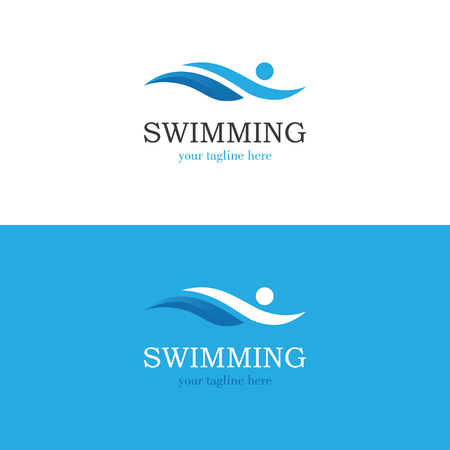 Blue swimming logo with abstract man silhouette. 版權商用圖片 - 79147018