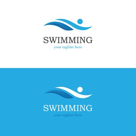 Logo di nuoto blu con silhouette uomo astratto.