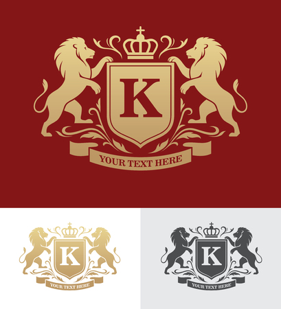 Golden crest design with rampant lions. Heraldic logo template. Luxury design concept.