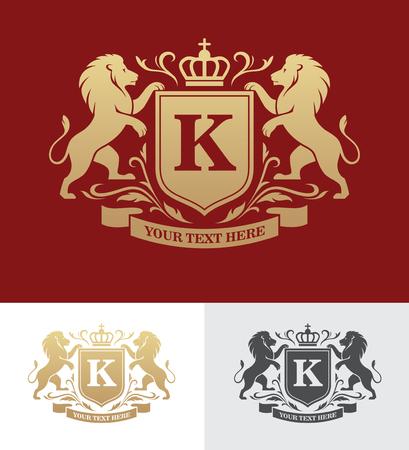 Diseño de cresta dorada con leones desenfrenados. Plantilla de logotipo heráldico. Concepto de diseño de lujo.