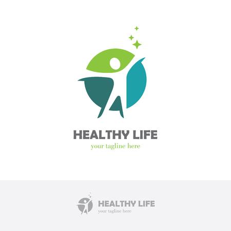 Streszczenie okrągły symbol z szczęśliwą sylwetką człowieka. Koncepcja projektowania logo centrum sportu, fitness, medycyny lub opieki zdrowotnej.