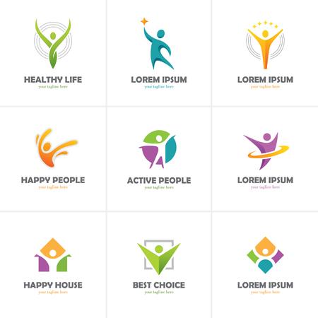 Conjunto de ícones abstratos das pessoas coloridas isolado no fundo branco. Logotipo humano. Logos